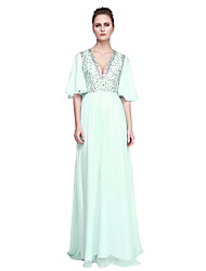 cheap -A-Line V Neck Floor Length Chiffon / Tulle Celebrity Style Cocktail Party / Prom / Formal Evening Dress with Beading by TS Couture®