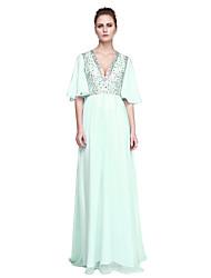 economico -Linea-A A V Lungo Chiffon Tulle Festa di fine anno scolastico Serata formale Vestito con Perline di TS Couture®