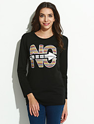 cheap -Women's Daily Casual Letter Round Neck Sweatshirt Short, Long Sleeves Spring Cotton