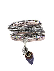 Women's Charm Bracelet Wrap Bracelet Leather Bracelet Bracelet Leather Rhinestone Feather Simulated DiamondFashion Vintage Bohemian