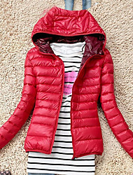 Women's Long Parka Coat,Cute Casual/Daily Solid-Cotton Cotton Long Sleeve Hooded Blue / Red / Black / Green