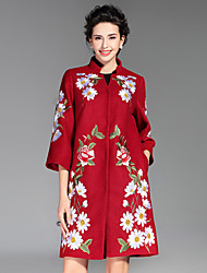 Dámské Výšivka Běžné/Denní / Velké velikosti Čínské vzory Kabát-Polyester Zima Stojáček Tříčtvrteční rukáv Modrá / Červená / Zelená