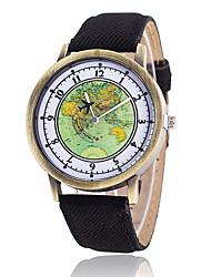 Women's Fashion Watch Wrist watch Quartz Fabric Band Vintage Casual World Map Black White Blue Red Brown Green YellowYellow Brown Red