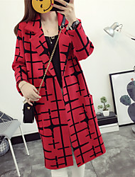 Women's Casual/Daily Simple Regular Cardigan,Plaid Shirt Collar Long Sleeves Acrylic Spring Fall Medium Micro-elastic