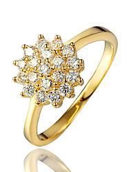 Feminino Anel Zircônia cúbica bijuterias Chapeado Dourado 18K ouro Jóias Para Casamento Festa Diário Casual