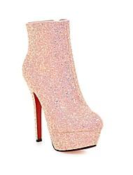 Damer Støvler Komfort Modestøvler Glitter Forår Efterår Vinter Bryllup Formelt Fest/aften Gang Komfort ModestøvlerGlimtende glitter