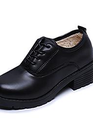 Oxfords-PU-Komfort-Dame-Sort-Fritid-Flad hæl