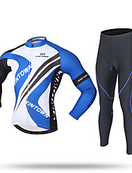 XINTOWN Cycling Jersey with Tights Men's Long Sleeves Bike Fleece Jackets Jersey Pants/Trousers/Overtrousers Tracksuit Zip Top Tops