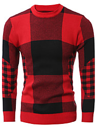 cheap -Men's Daily Club Going out Work Casual Street chic Chinoiserie Regular Pullover,Solid Houndstooth Round Neck Long Sleeves Wool Cotton