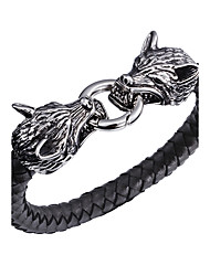 cheap -Men's Leather Bracelet Personalized Hip-Hop Rock Punk Stainless Steel Leather Wolf Animal Jewelry Party Gift Daily Casual Costume Jewelry