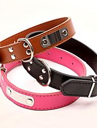 Cachorro Colarinho Retratável Sólido PU Leather Preto Marron Vermelho Azul Rosa claro