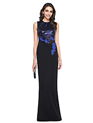 Sheath / Column High Neck Floor Length Sequined Matte Satin Prom Formal Evening Dress with Appliques Sequins by TS Couture®