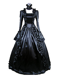 One-Piece/Dress Gothic Lolita Victorian Cosplay Lolita Dress Black Solid Long Length Long Sleeves Dress For Women Satin