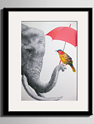 cheap -E-HOME® Framed Canvas Art Elephants And Birds Framed Canvas Print One Pcs