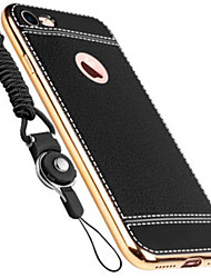 Per Placcato Custodia Custodia posteriore Custodia Tinta unita Morbido Vera pelle per AppleiPhone 7 Plus / iPhone 7 / iPhone 6s Plus/6