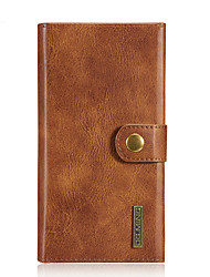 cheap -Case For Apple iPhone 6 iPhone 7 Plus iPhone 7 Card Holder Wallet Flip Full Body Cases Solid Color Hard Genuine Leather for