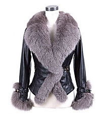 Women's Party / Evening Daily Wear Coats Winter Fall Fur Coat,Solid Color V-neck Long Sleeves Regular Faux Fur