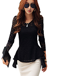cheap -Women's Daily Street chic Winter Fall T-shirt,Solid Round Neck Long Sleeves Rayon Polyester