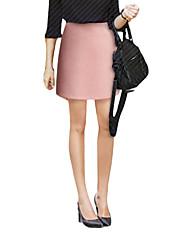 Femme Jupes,Trapèze Couleur PleineTaille Haute Au dessus des genoux Décontracté / Quotidien Polyester fermeture Éclair Micro-élastique