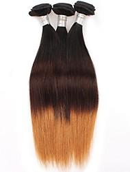 Cabelo Humano Cabelo Brasileiro Âmbar Liso Extensões de cabelo 3 Peças Preto / Medium Brown / louro da morango