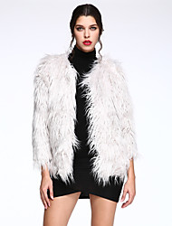 Women's Casual/Daily Simple Fur Coat,Solid Long Sleeve Winter White / Black / Gray Faux Fur Thick