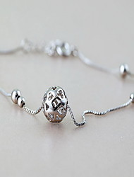 Woman Silver Sterling Silver Circular Lobster Clasp Anklet