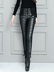 abordables -Mujer Sensual Tiro Alto Microelástico Ajustado Chinos Pantalones,Un Color Poliéster Invierno Otoño