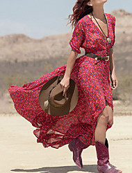 Women's Holiday Boho Chiffon Swing Dress,Floral Deep V Maxi 3/4 Length Sleeves Polyester Summer Mid Rise Stretchy Thin