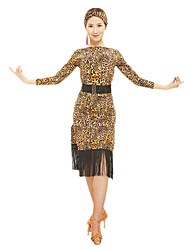 cheap -Latin Dance Dresses Women's Performance Polyester Animal Print / Tassel Long Sleeve High Dress / Waist Belt