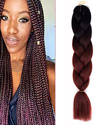 """1 confezione ombre nero bruno-rossastro crochet 24"""" yaki kanekalon fibra 100g 2 tono jumbo trecce di capelli sintetici"""