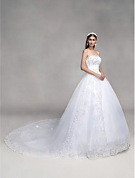 cheap -Ball Gown Sweetheart Neckline Cathedral Train Tulle Over Lace Made-To-Measure Wedding Dresses with Bowknot / Beading / Sequin by LAN TING BRIDE® / Sparkle & Shine