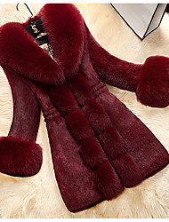 cheap -Women's Elegant & Luxurious Faux Fur Faux Leather Fur Coat-Solid Color Peter Pan Collar