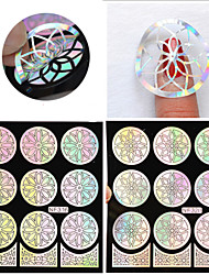 cheap -1Pcs Silver Hollow Vinyls Nail Art Stamp Stamping Stencil Nail Sticker Guide Manicure Nail Tools Design Is Random