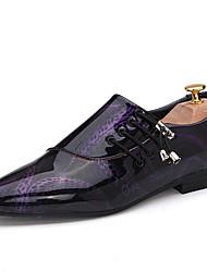 Homme Chaussures Polyuréthane Printemps Automne Confort Oxfords Lacet Pour Décontracté Blanc Noir Violet Marron foncé Bleu