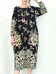 Women's Casual/Daily Toiles / Vintage Loose Dress,Animal Print Round Neck Midi / Shoulder to hem measures 41.5 inch Long Sleeve Blue / Red