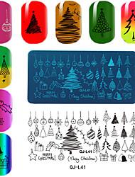 Rectangular Plate Manicure Printing Template Christmas Series