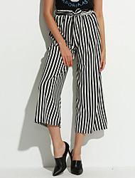 baratos -Mulheres Clássico Solto Perna larga Jeans Calças - Listrado