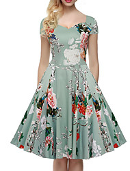 cheap -Women's Vintage / Casual / Street chic Floral Swing Dress