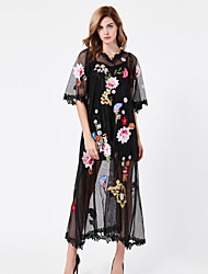 STEPHANIE Women's Embroidery/Flare Sleeve Casual/Daily Vintage Little Dress Embroidered Round Neck Midi Length Sleeve Black Cotton/Winter High Rise