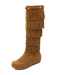 Women's Boots Winter Comfort Suede Casual Black Light Brown