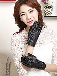 Women's PU Grid  Wrist Length Fingertips Cute/ Party/ Casual  Winter Fashion Warm Gloves