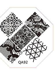 Недорогие -ногтей штамп штамповка изображения шаблон пластины серии QA