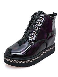 Недорогие -Черный-Для женщин-Для прогулок Для праздника-Полиуретан-На плоской подошве-На платформе-Ботинки