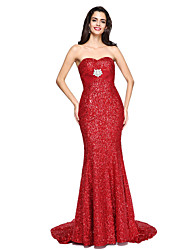 cheap -Mermaid / Trumpet Sweetheart Court Train Sequined Formal Evening Dress with Crystal Brooch Ruching by TS Couture®