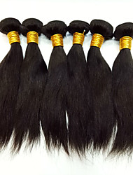 cheap -6 Bundles Peruvian Hair Silky Straight Virgin Human Hair Natural Color Hair Weaves 8-30 inch Human Hair Weaves Odor Free / Hot Sale Auburn Natural Black Ombre Human Hair Extensions Women's
