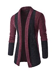 baratos -Masculino Casual / Trabalho Simples / Moda de Rua Outono / Inverno,Sólido / Colorido Vermelho / Cinza Algodão Colarinho de CamisaManga
