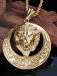 Men's Pendant Necklaces Animal Shape Lion Stainless Steel Gold Plated Fashion Personalized Jewelry For Party Halloween Daily Casual