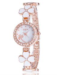 Недорогие -Жен. Модные часы Наручные часы Часы-браслет Кварцевый Стразы / Имитация Алмазный сплав Группа Цветы На каждый день Кольцеобразный Elegant