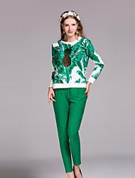 Mujer Boho Casual/Diario Otoño / Invierno Camiseta Pantalón Trajes,Escote Redondo Floral Manga Larga Otro Verde