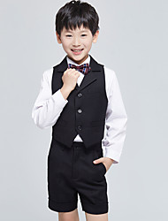 cheap -Burgundy Black Ocean Blue Cotton Ring Bearer Suit - Four-piece Suit Includes  Vest Shirt Pants Bow Tie